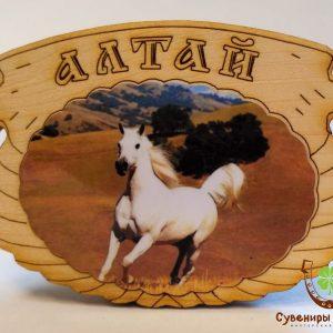 """Магнит фото кедровый """"Белый конь"""""""