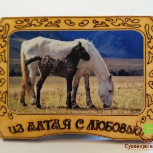 """Магнит фото кедровый """"Лошадь с жеребенком 2"""""""