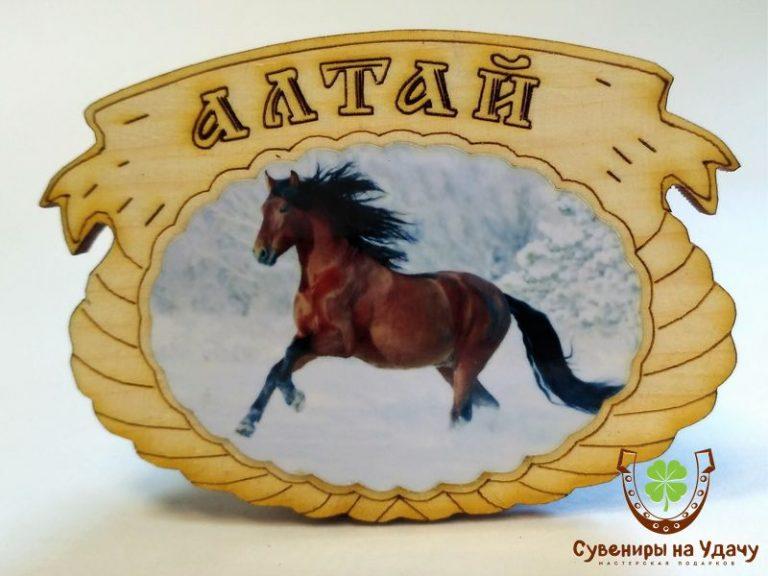 """Магнит фото кедровый """"Лошадь 5"""""""