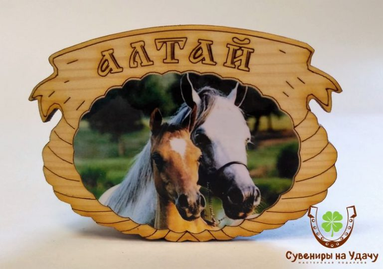 "Магнит фото кедровый ""Лошади парочка"""